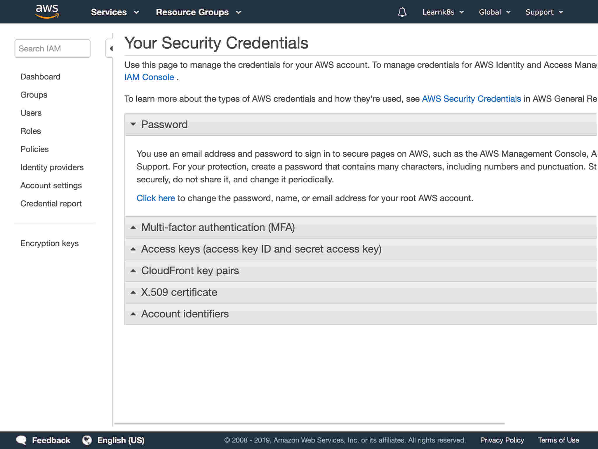 You should land on Your Security Credentials page.